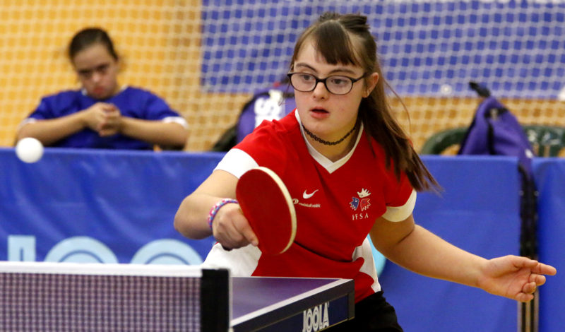 A table tennis player with Down's syndrome